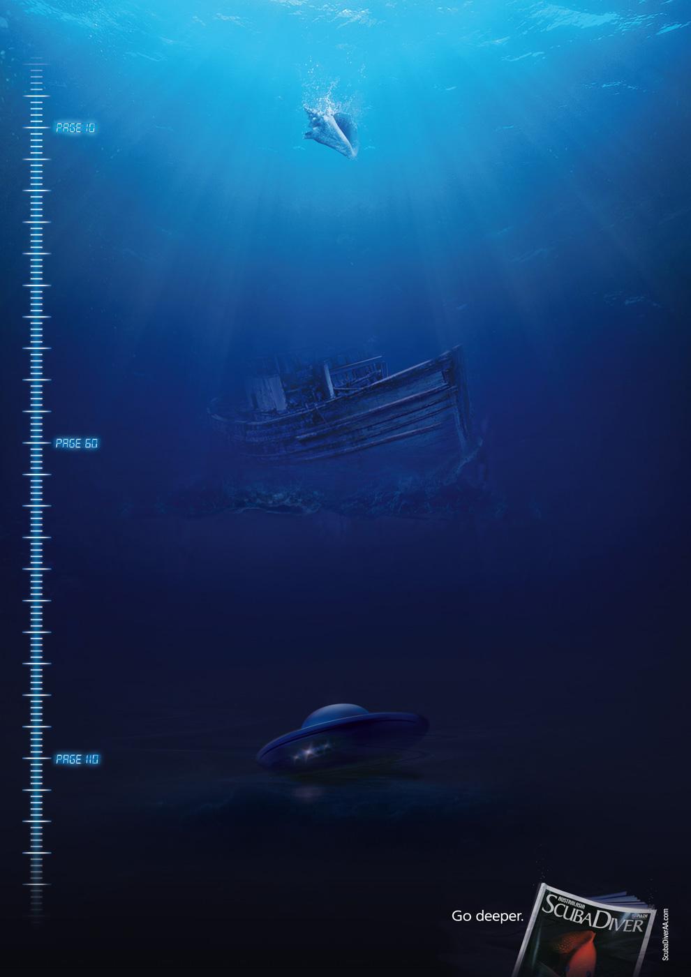 Scuba Diver Magazine Print Ad -  Broken Vessel of the Deep