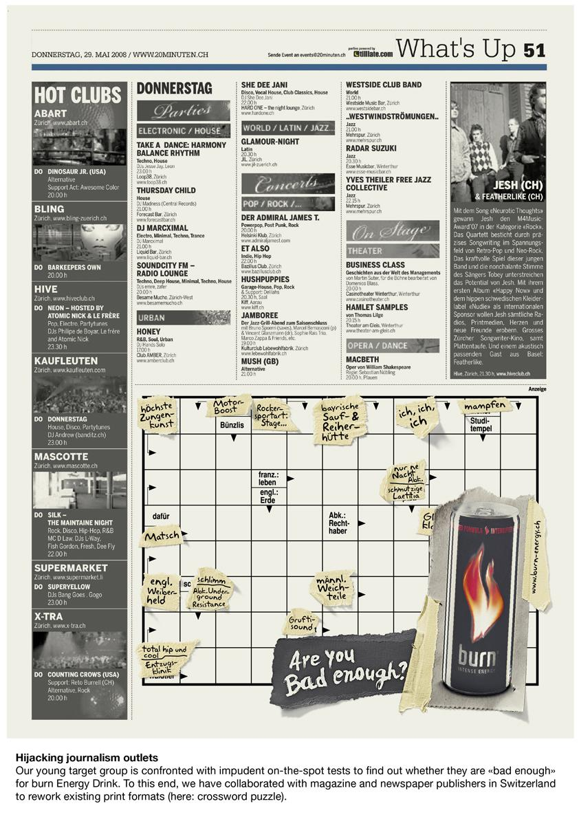 Burn Print Ad -  Crossword