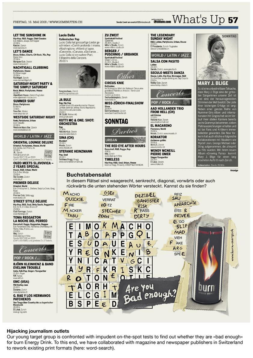 Burn Print Ad -  Word search