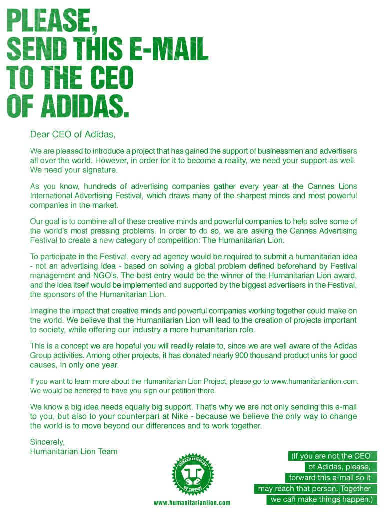 Humanitarian Lion Print Ad -  CEO Adidas