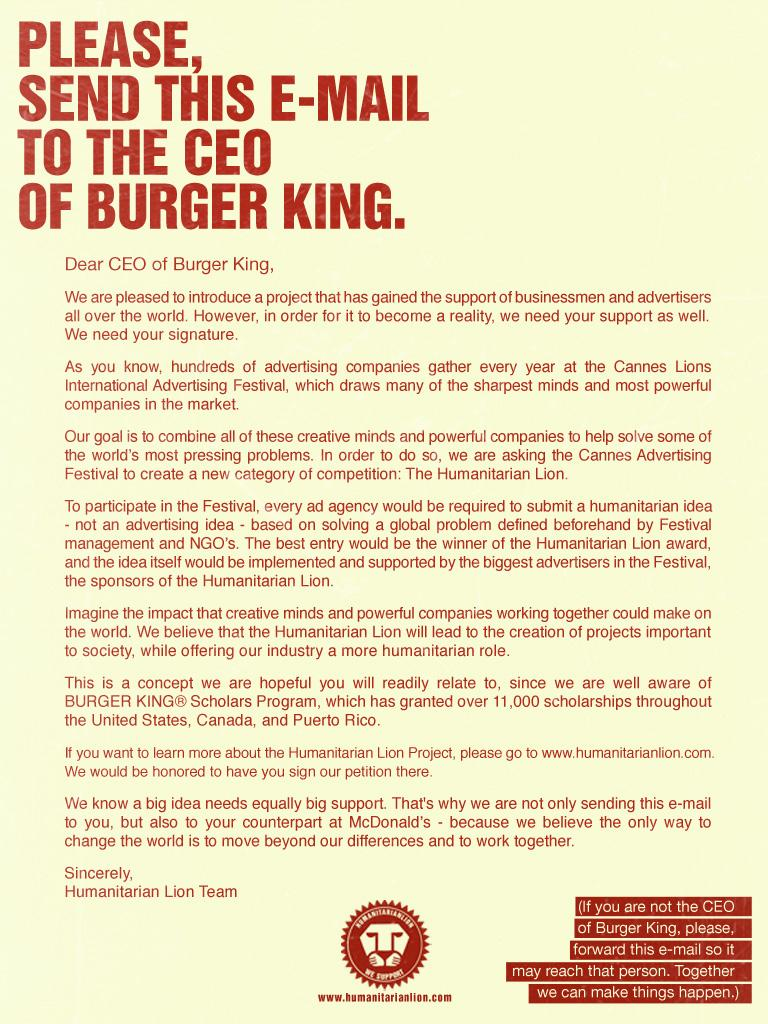 Humanitarian Lion Print Ad -  CEO Burger King