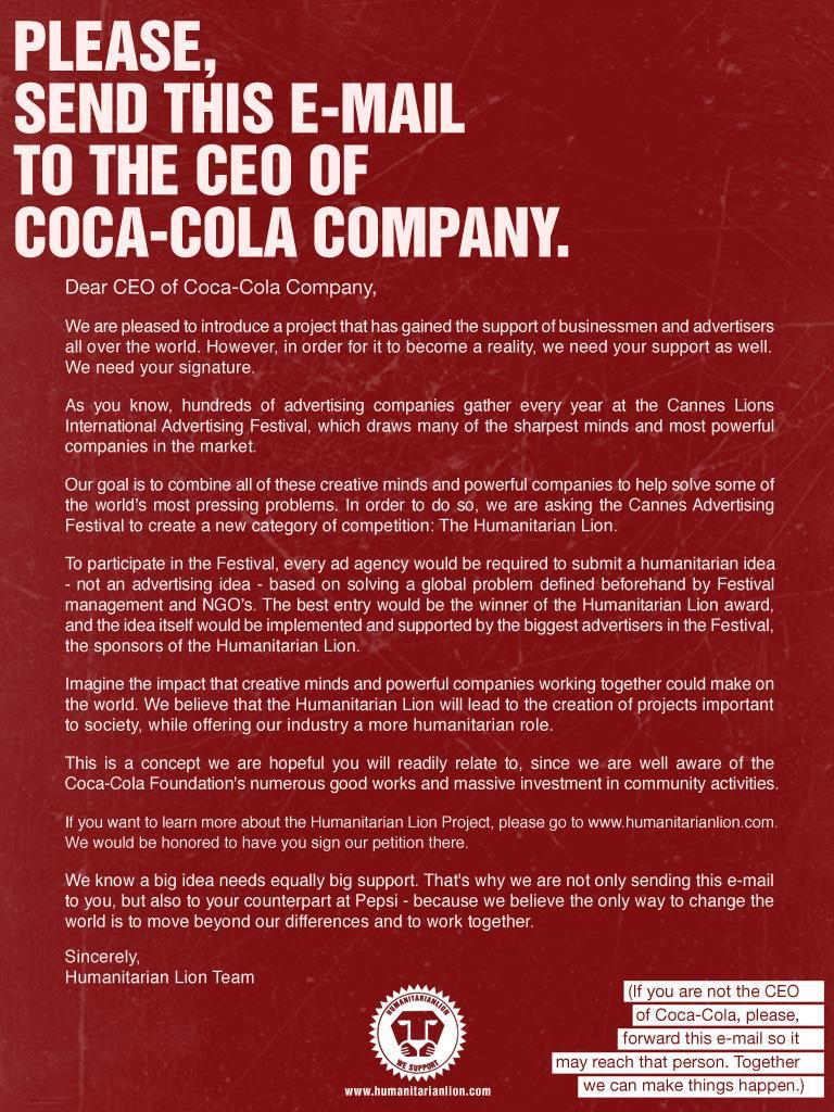 Humanitarian Lion Print Ad -  CEO Coca-Cola