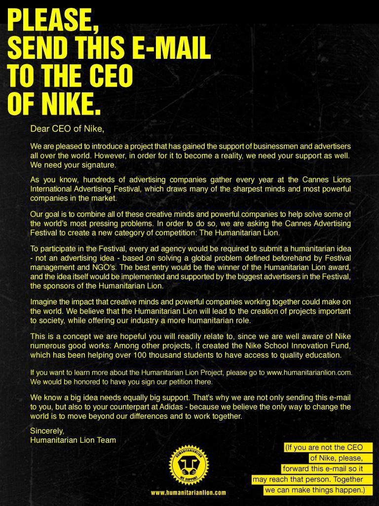 Humanitarian Lion Print Ad -  CEO Nike