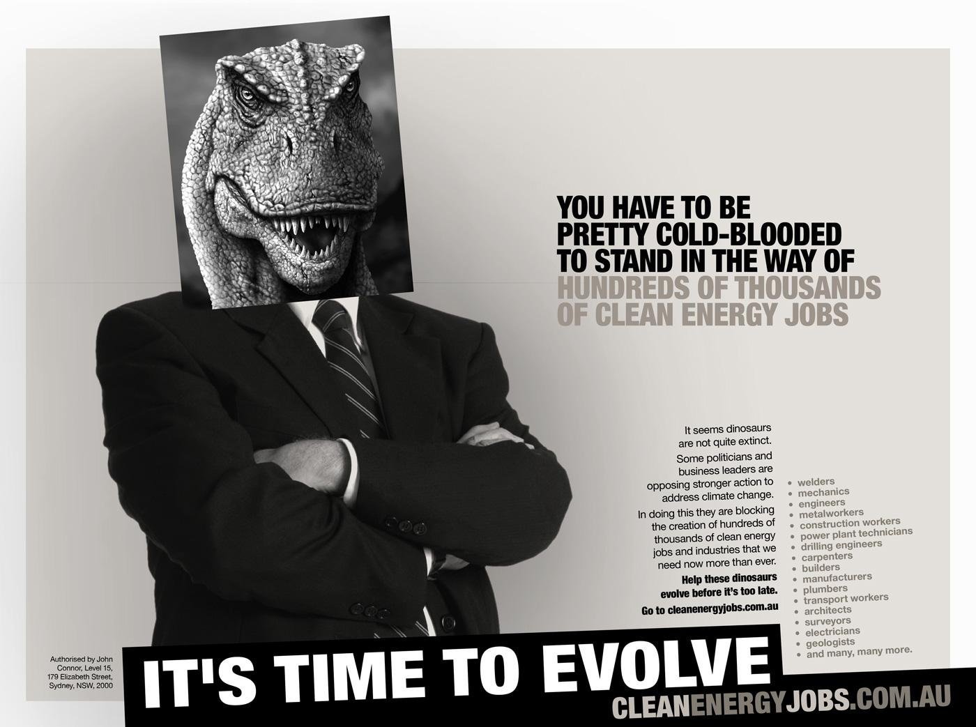 Climate Institute Print Ad -  Dinosaurs