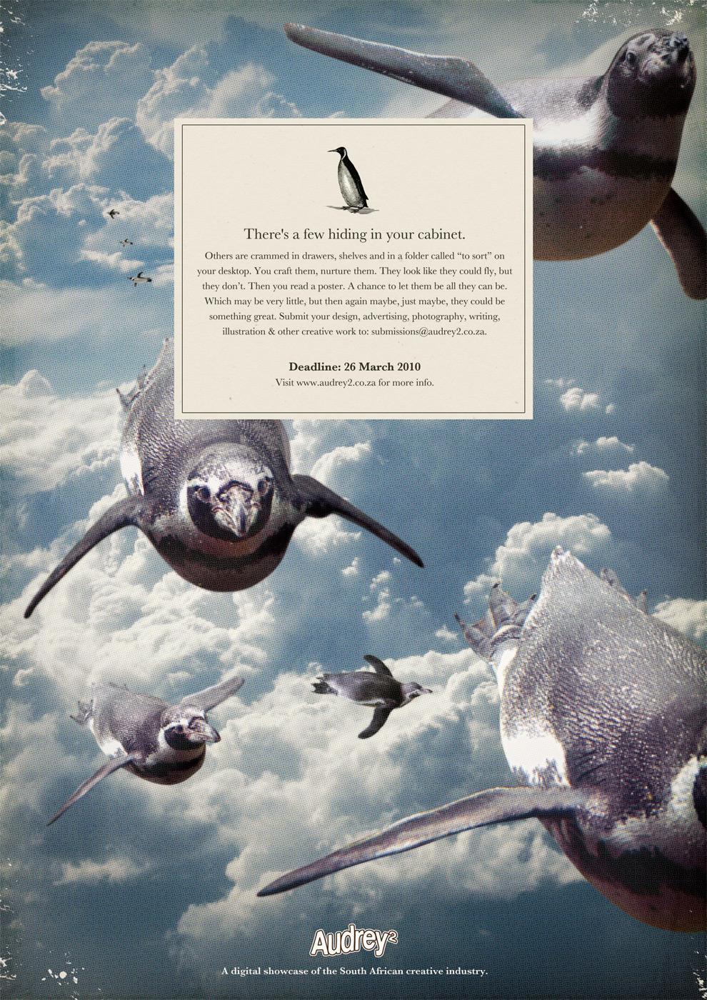 Audrey 2 Print Ad -  Flying penguins
