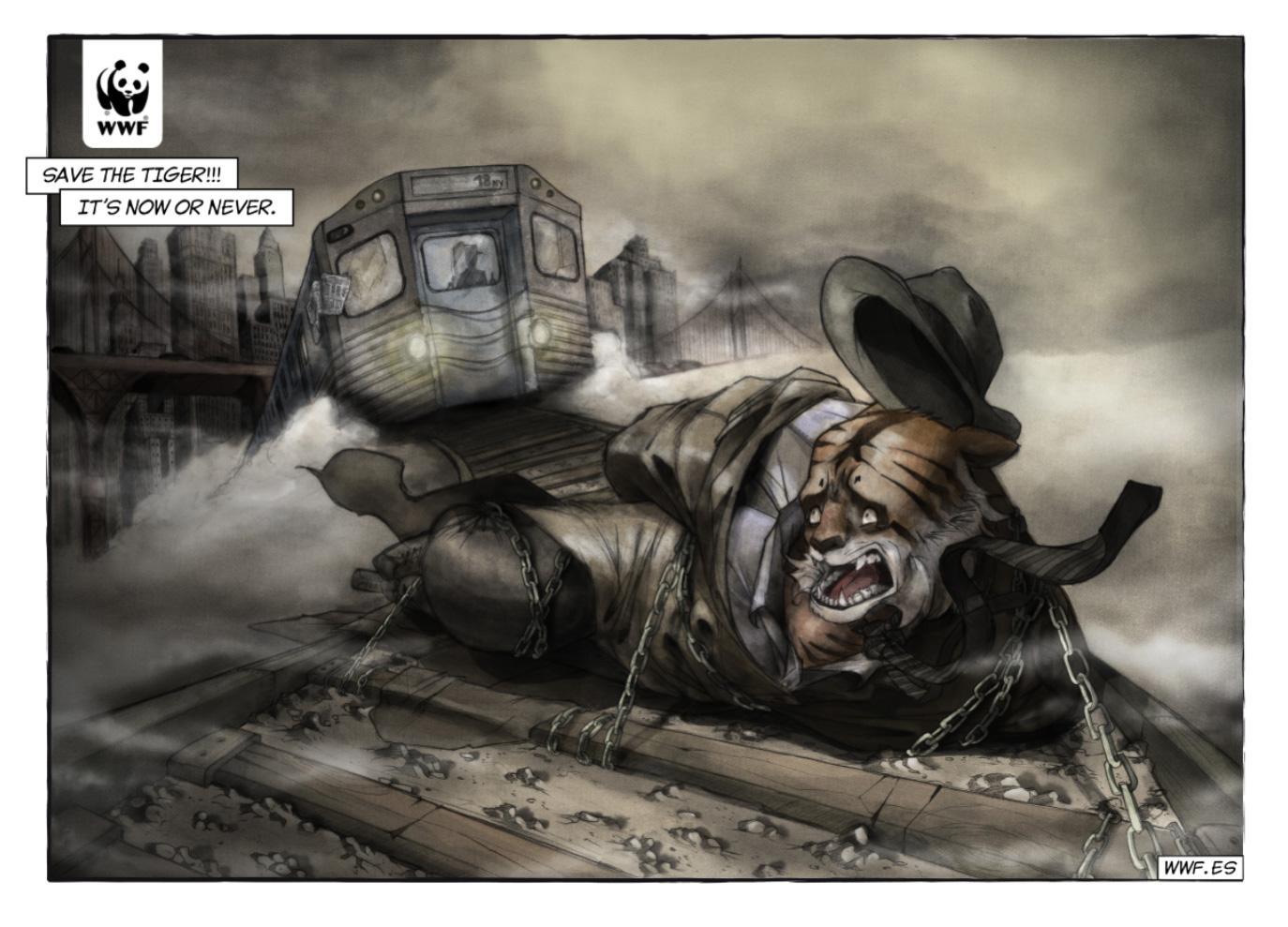 WWF Print Ad -  Comic Noir, Tiger