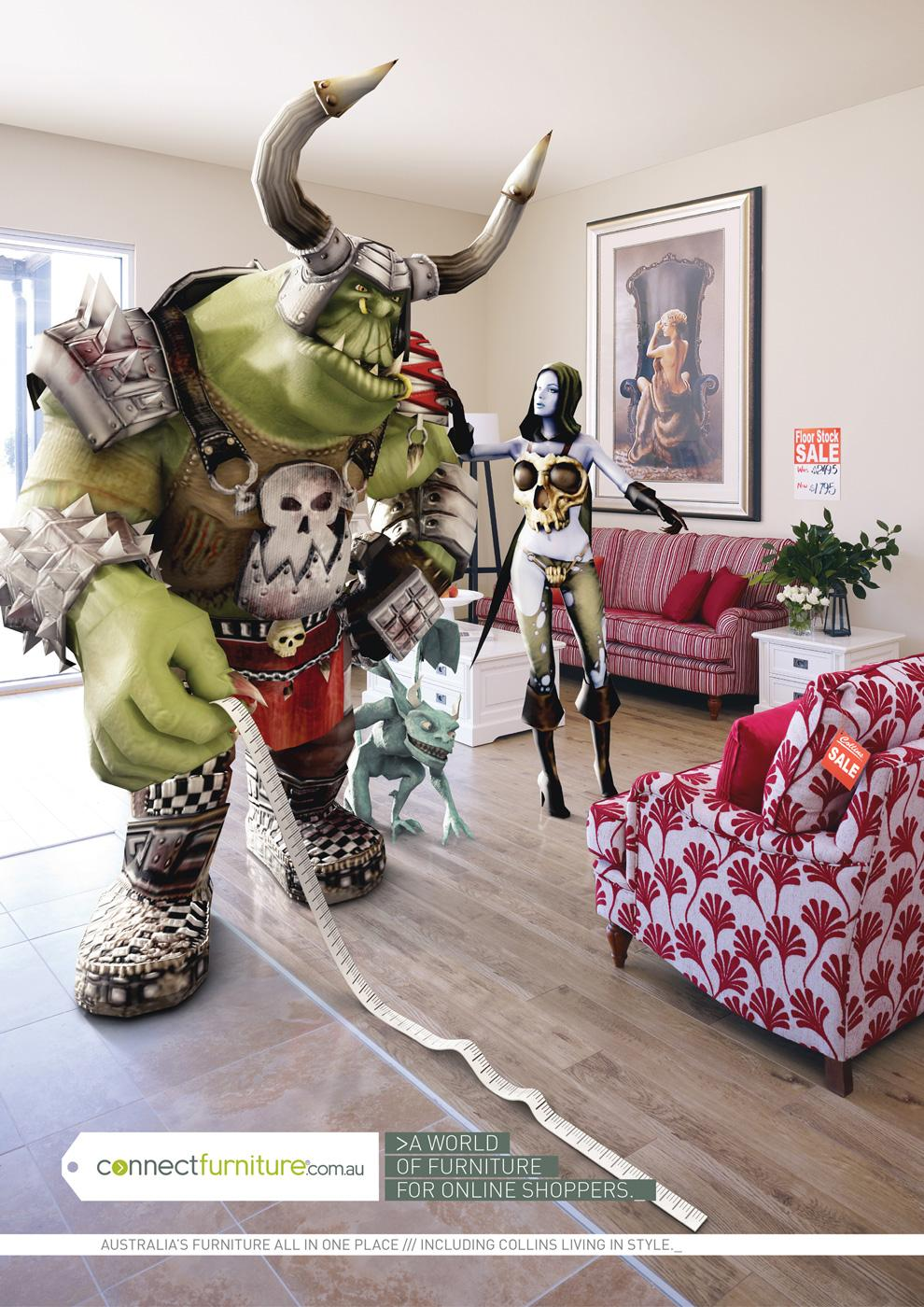 Connect Furniture Print Ad -  Horned troll avatar