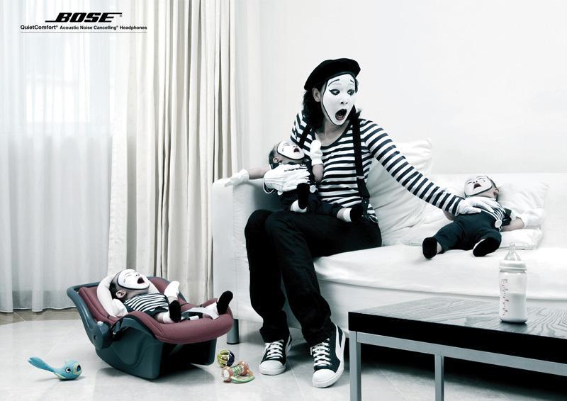 Bose Print Ad -  Mimes, Crying babies