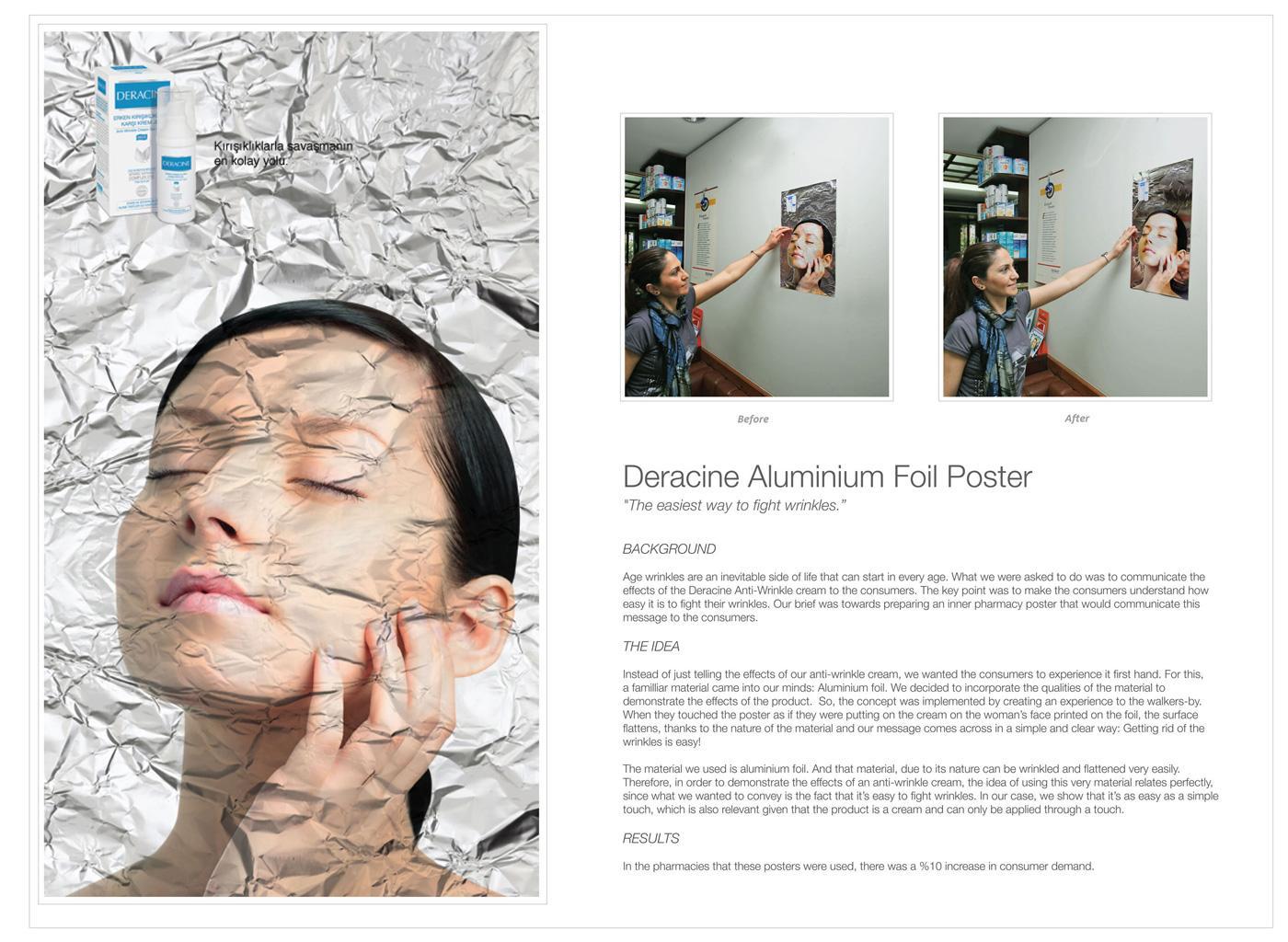 Deracine Ambient Ad -  Aluminium foil poster