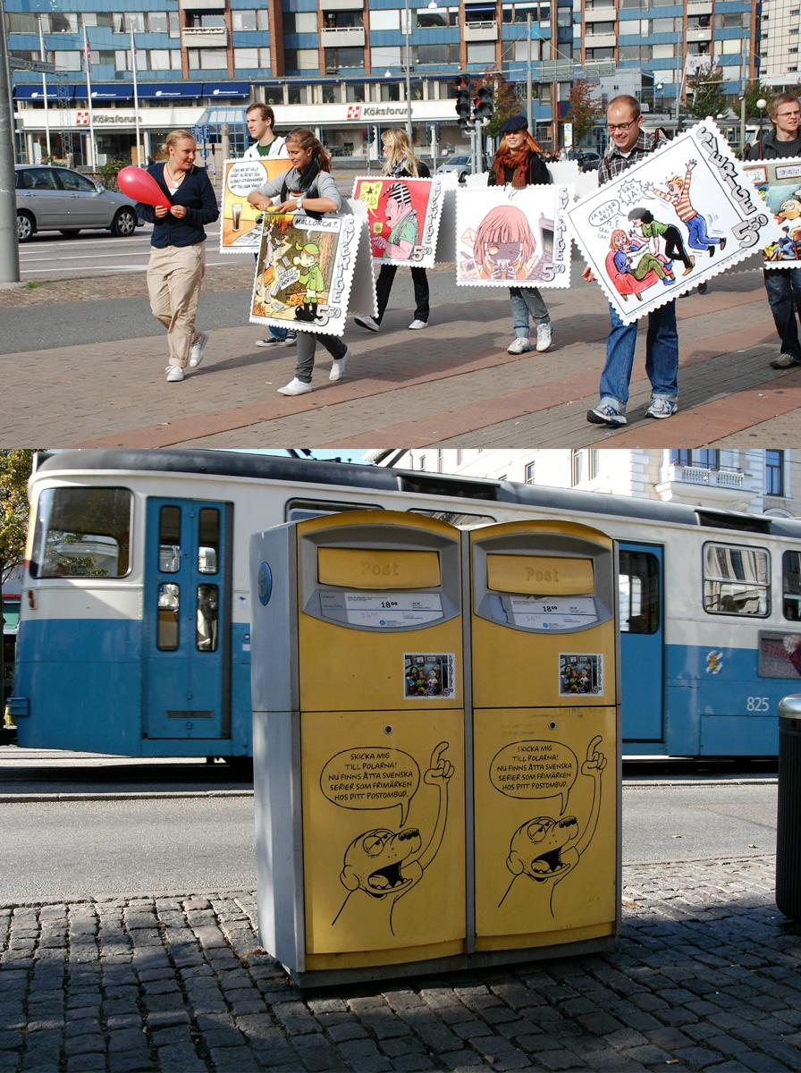 Posten Ambient Ad -  Comics as stamps