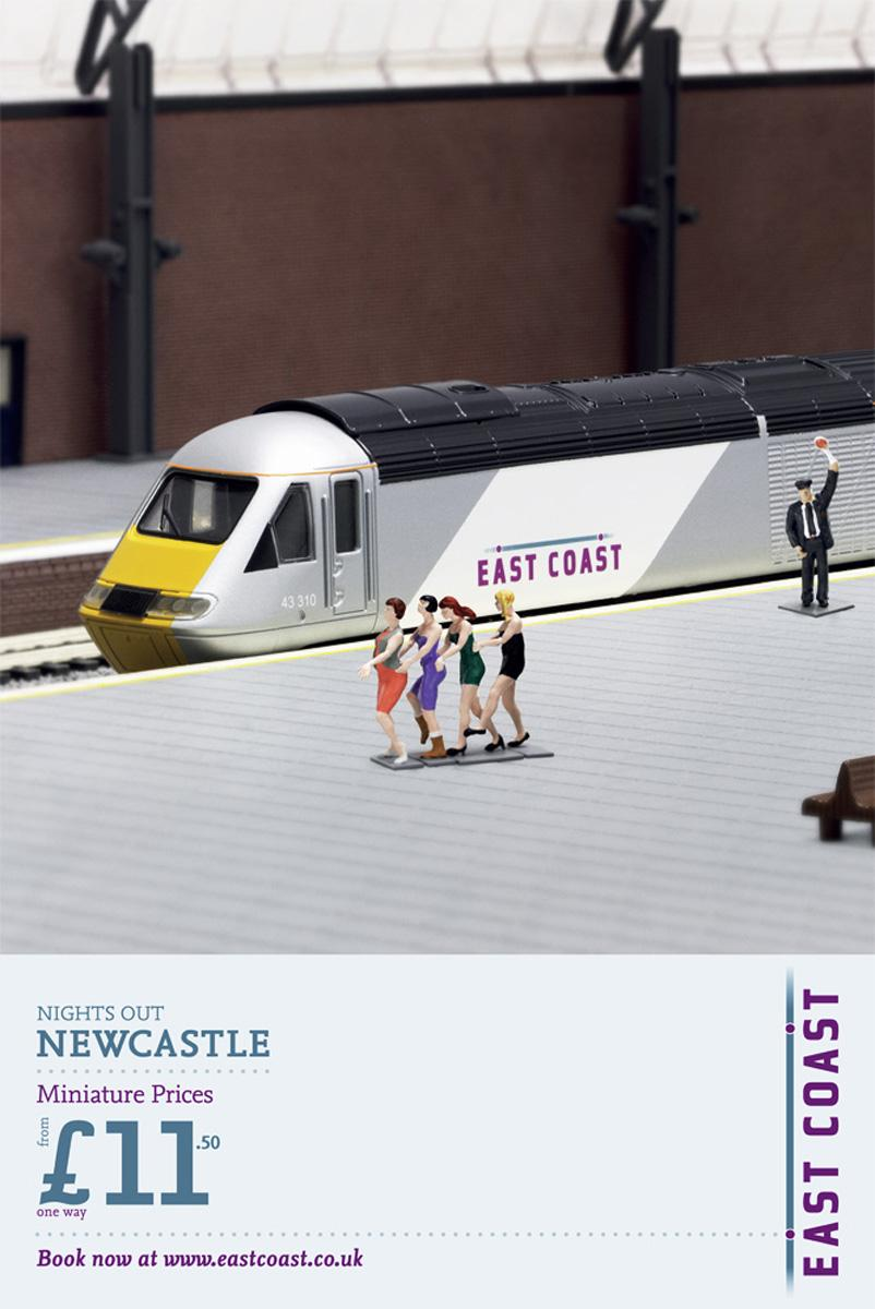 East Coast Trains Print Ad -  Miniature Prices, Dancing girls
