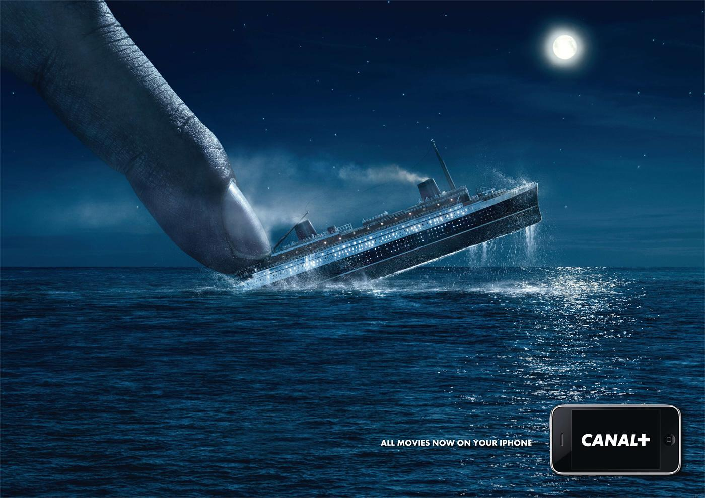 Canal+ Print Ad -  iPhone, Titanic