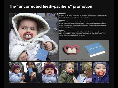 """The """"uncorrected teeth-pacifiers"""" promotion"""