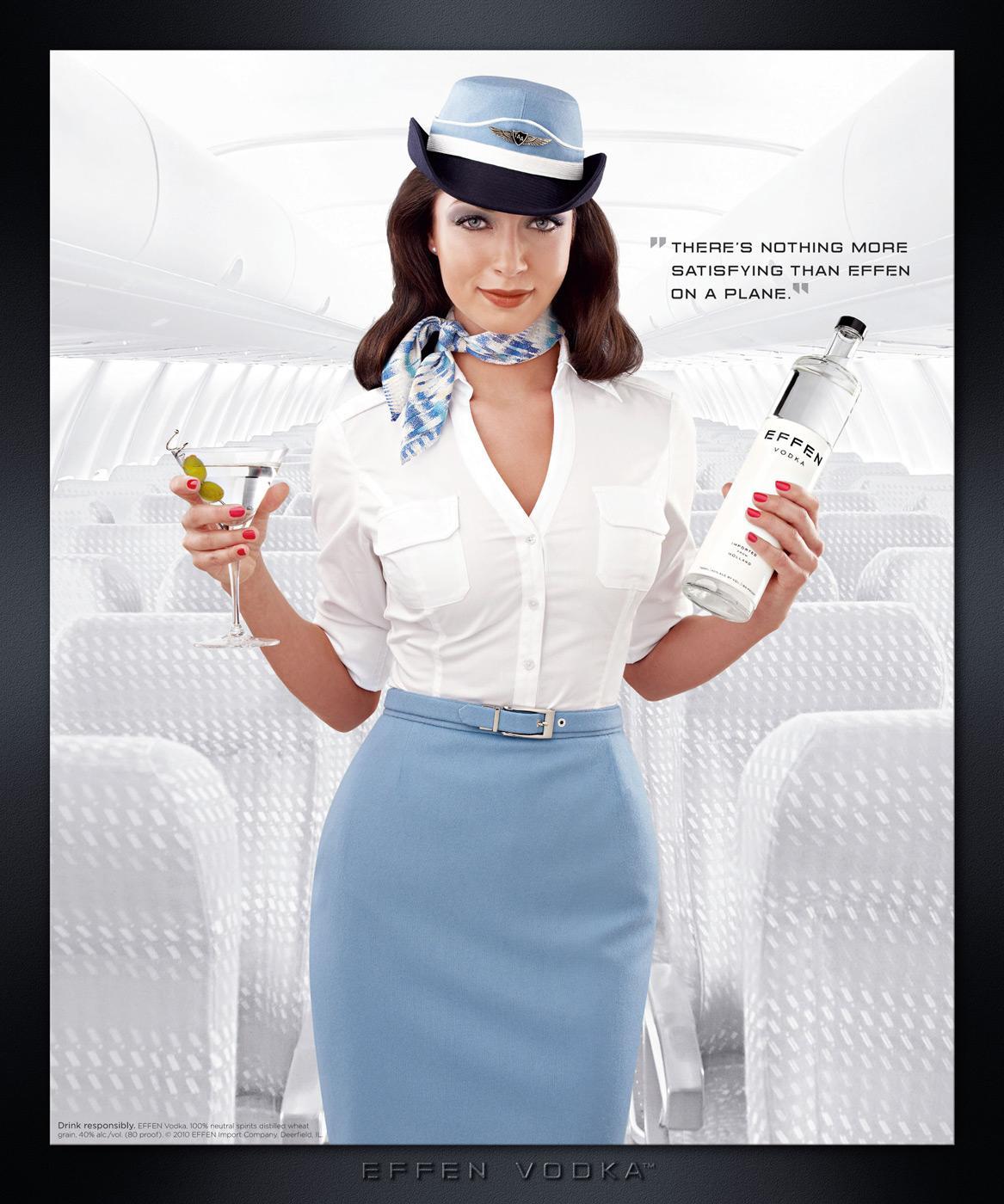 Effen Vodka Print Ad -  Stewardess