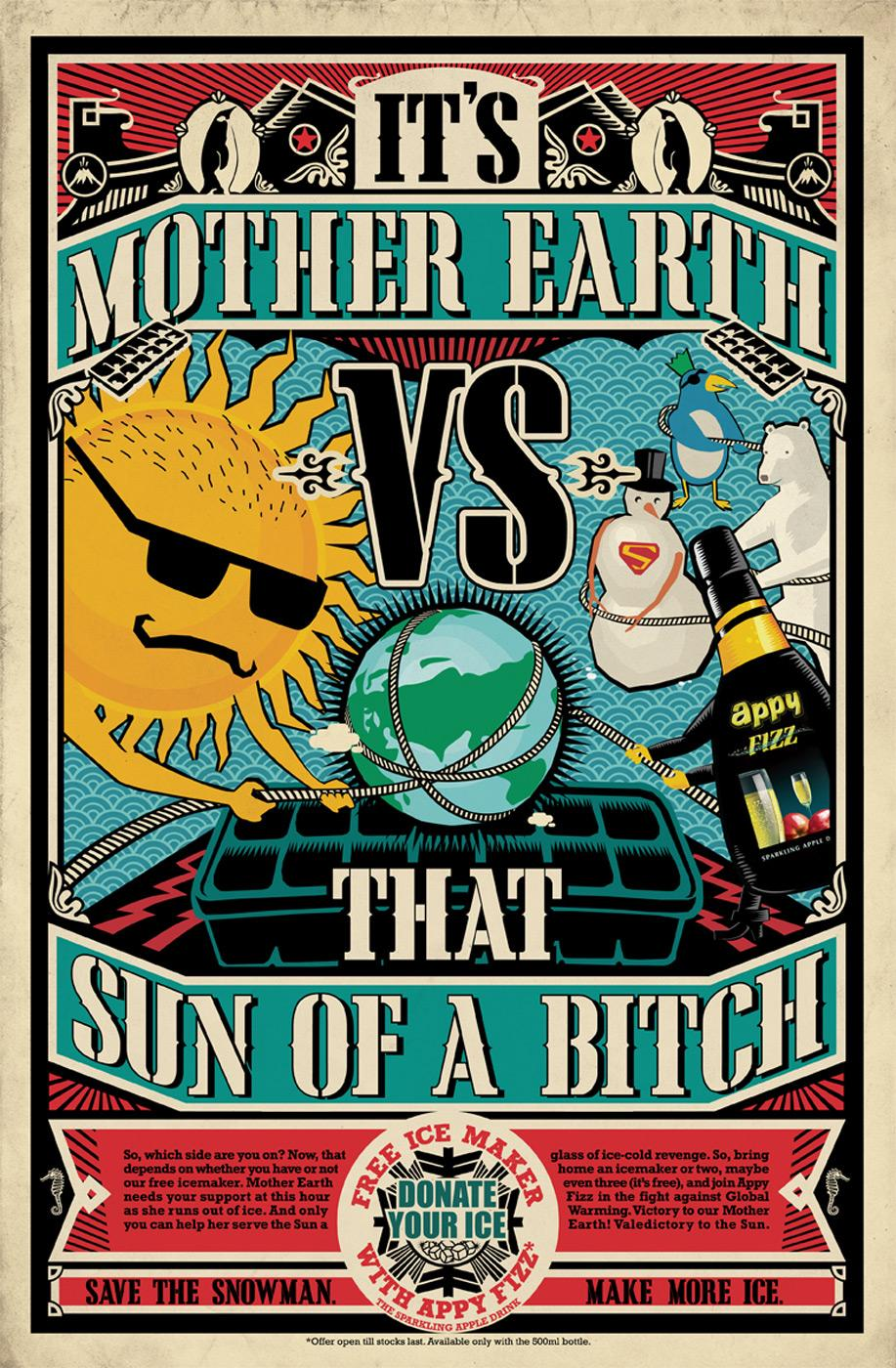 Appy Fizz Print Ad -  Earth vs Sun