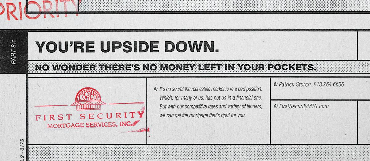 First Security Mortgage Services Print Ad -  Upside down