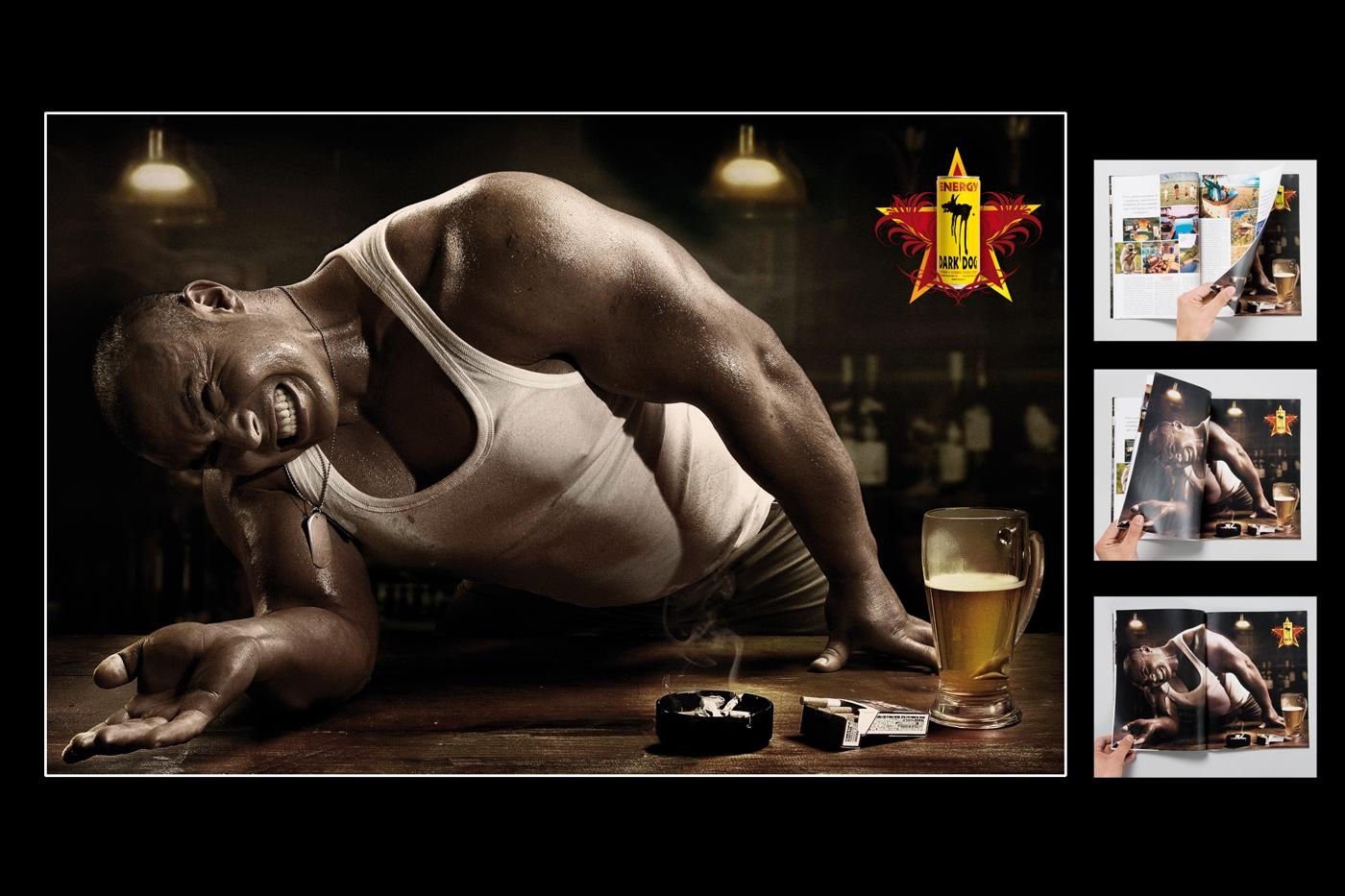 Dark Dog Print Ad -  Arm wrestling