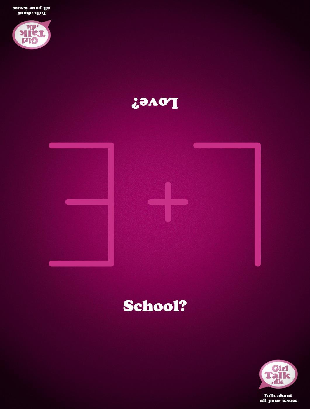 GirlTalk.dk Print Ad -  School? Love?