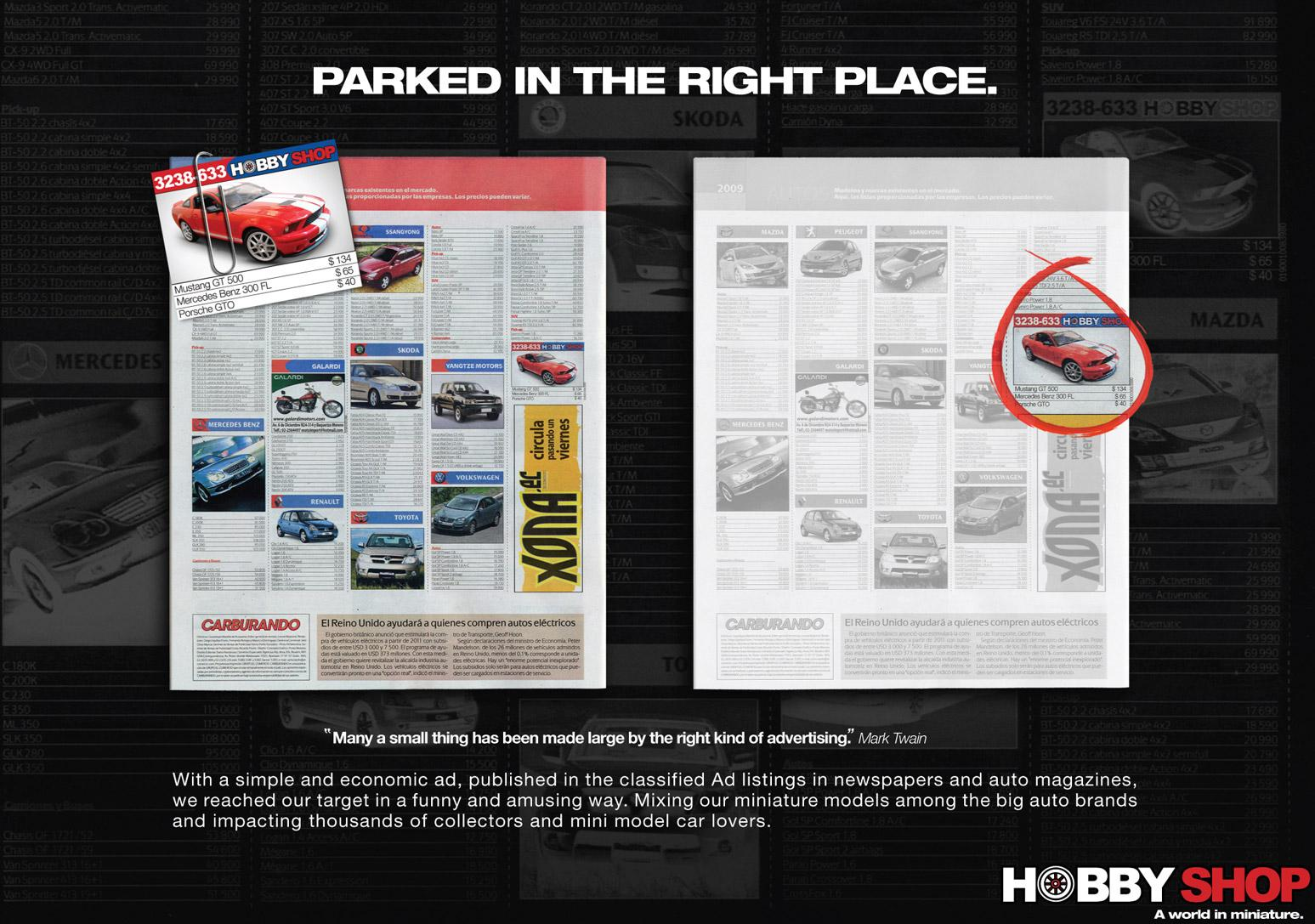 Hobby Shop Print Ad -  Parked in the right place