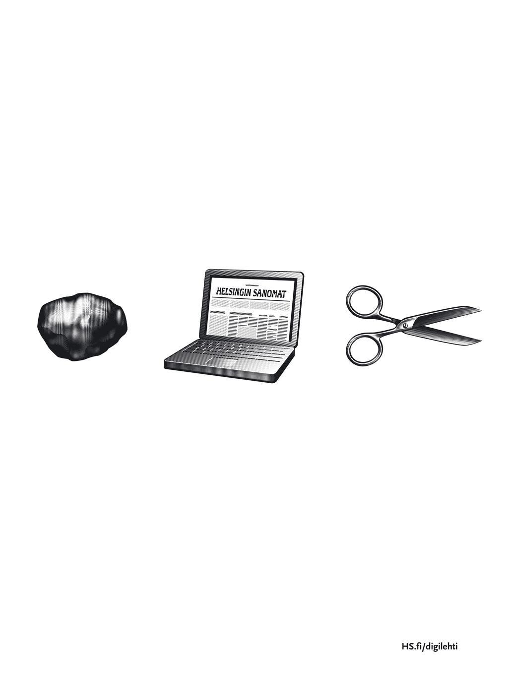 Helsingin Sanomat Print Ad -  Rock, laptop, scissors
