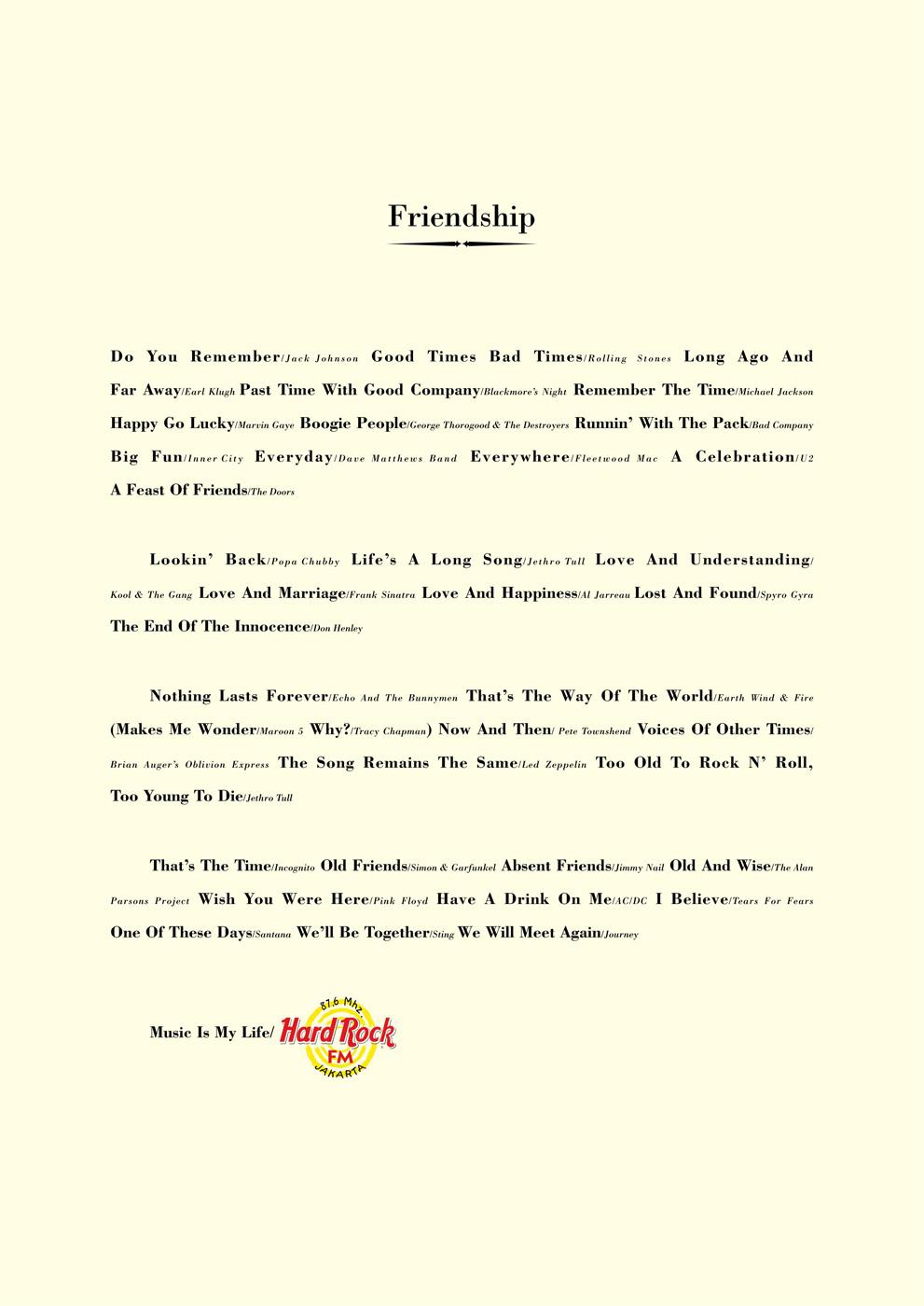 Hard Rock FM Print Ad -  Friendship