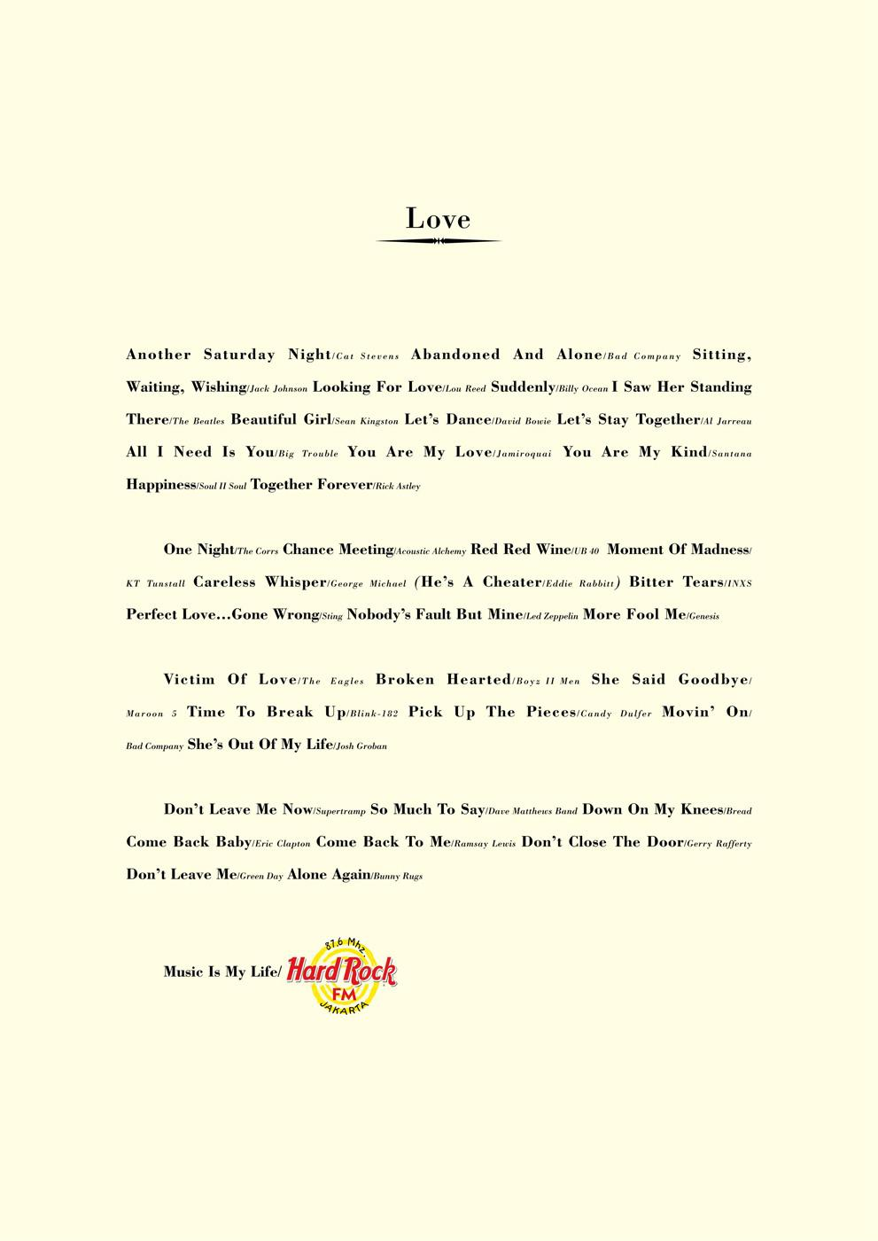 Hard Rock FM Print Ad -  Love
