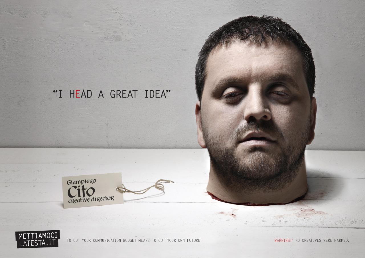 Mettiamocilatesta.it Print Ad -  I hEad an idea, Creative director