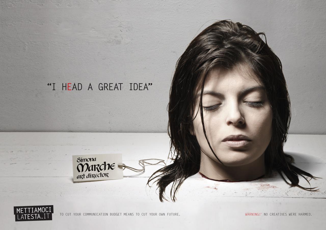 Mettiamocilatesta.it Print Ad -  I hEad an idea, Art director