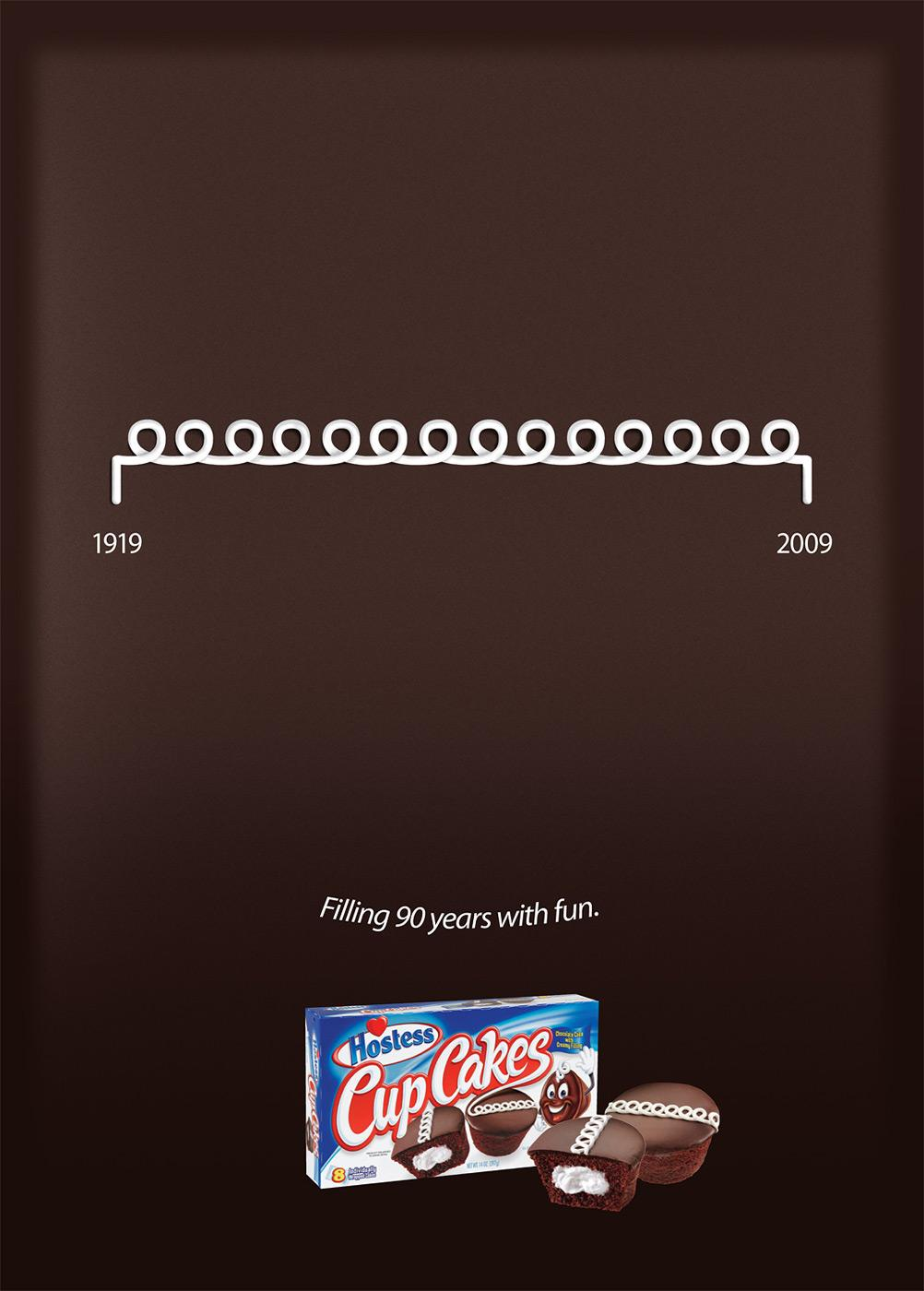 Hostess CupCakes Print Ad -  Filling 90 years with fun