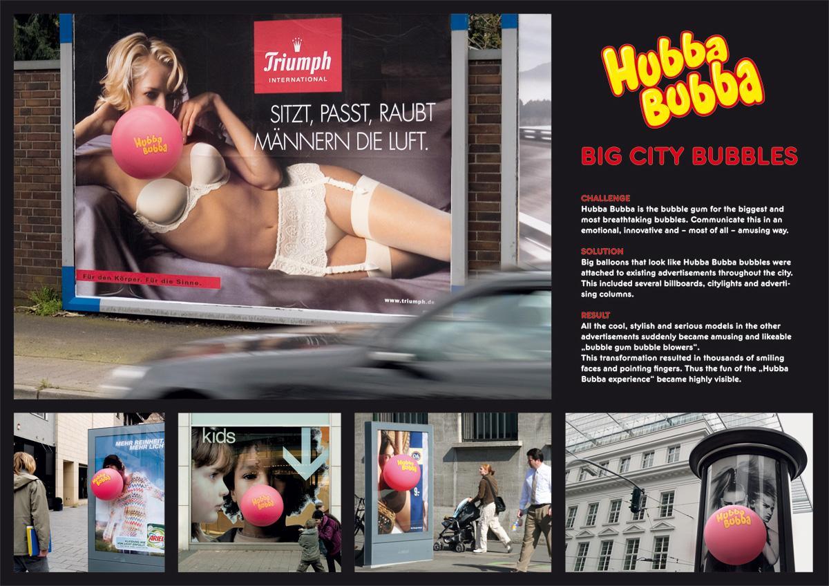 Hubba Bubba Ambient Ad -  Big city bubbles