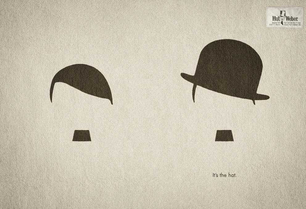Hut Weber Print Ad -  Hitler vs. Chaplin