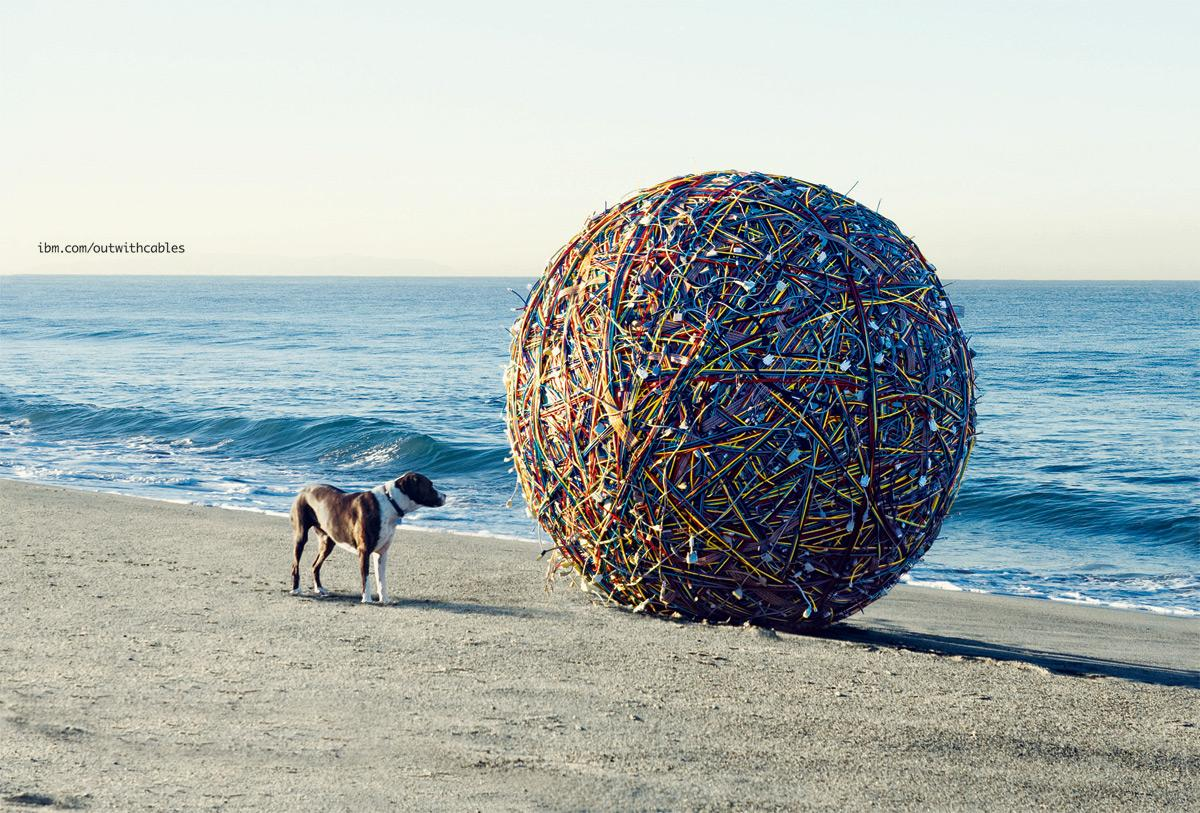 IBM Print Ad -  Out With Cables. In With Blades. - Beach