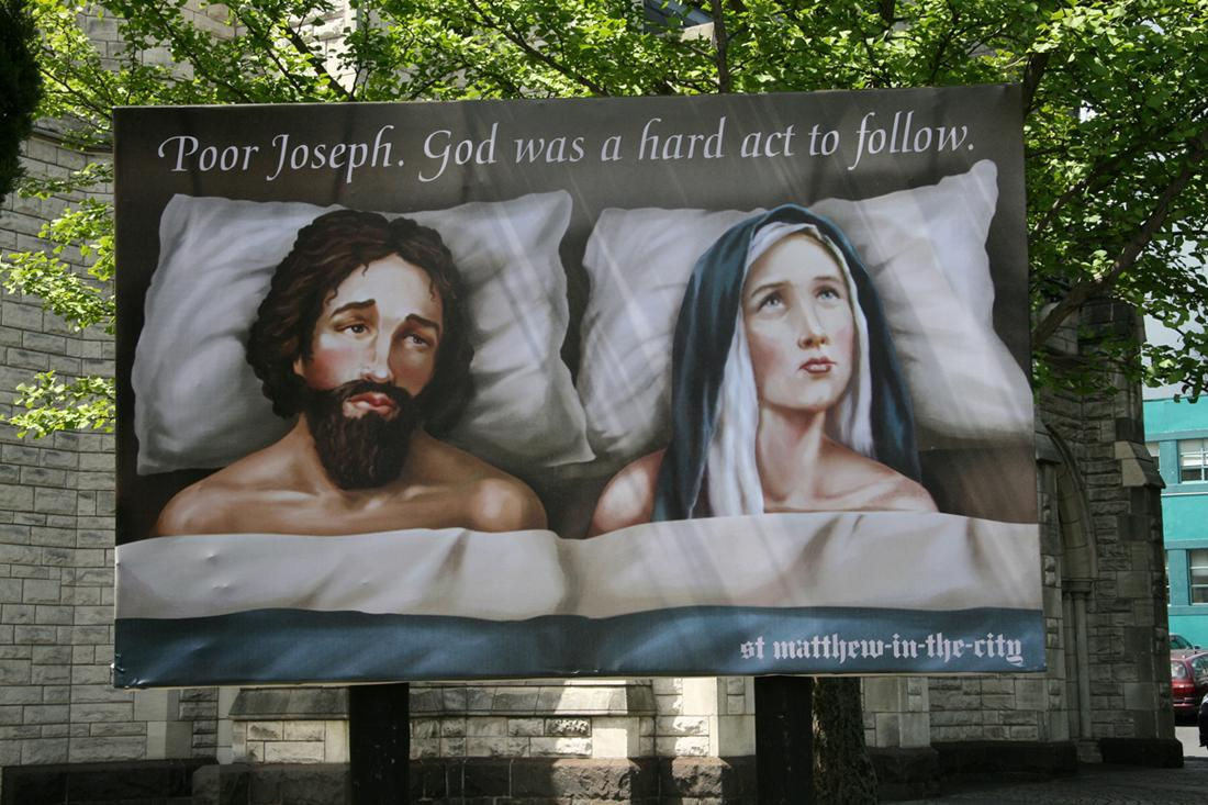 St Matthew-in-the-City Outdoor Ad -  Joseph & Mary