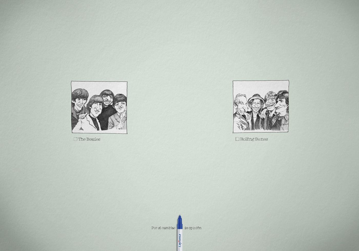 Layconsa Print Ad -  Beatles vs Rolling Stones