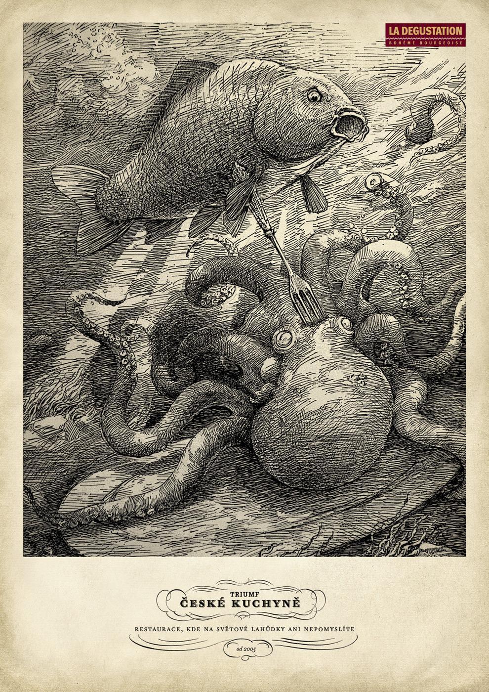 La Degustation Print Ad -  Carp triumphs over octopus