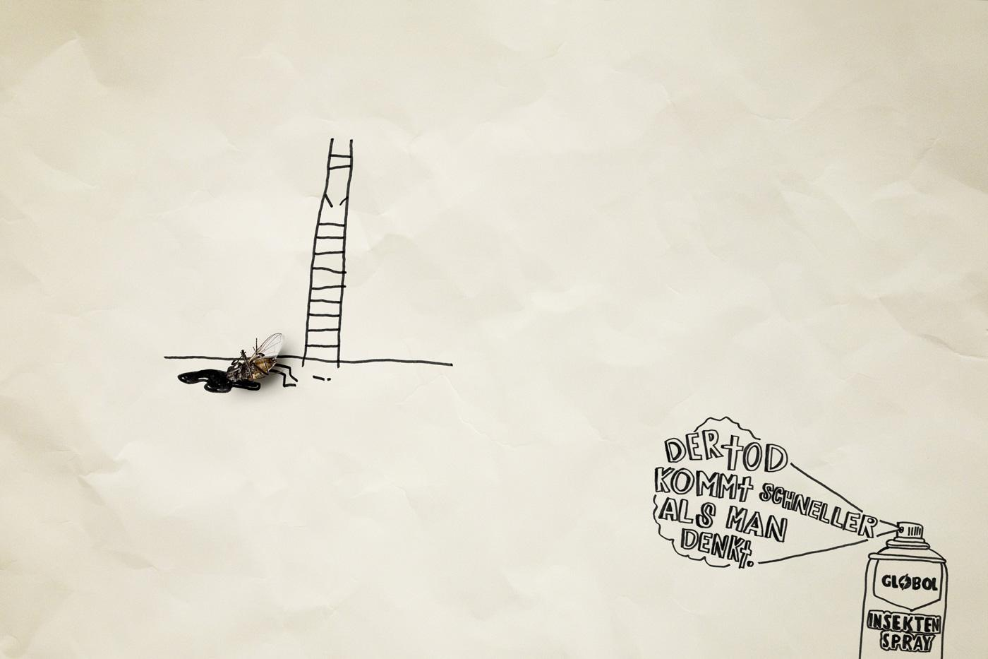 Globol Print Ad -  Dead flies, Ladder