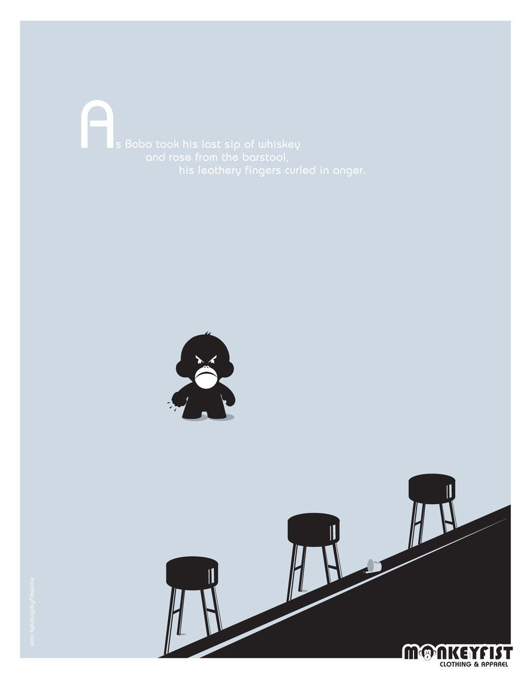 MonkeyFist Print Ad -  Bar fight