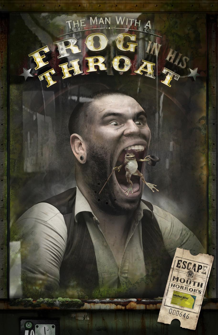 Mebucaine Print Ad -  Frog Throat