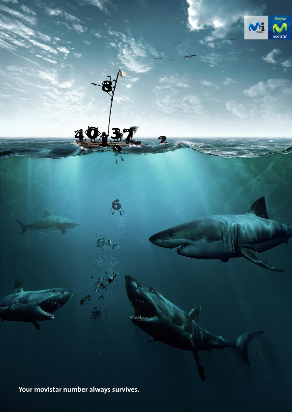 Movistar Print Ad -  Sharks