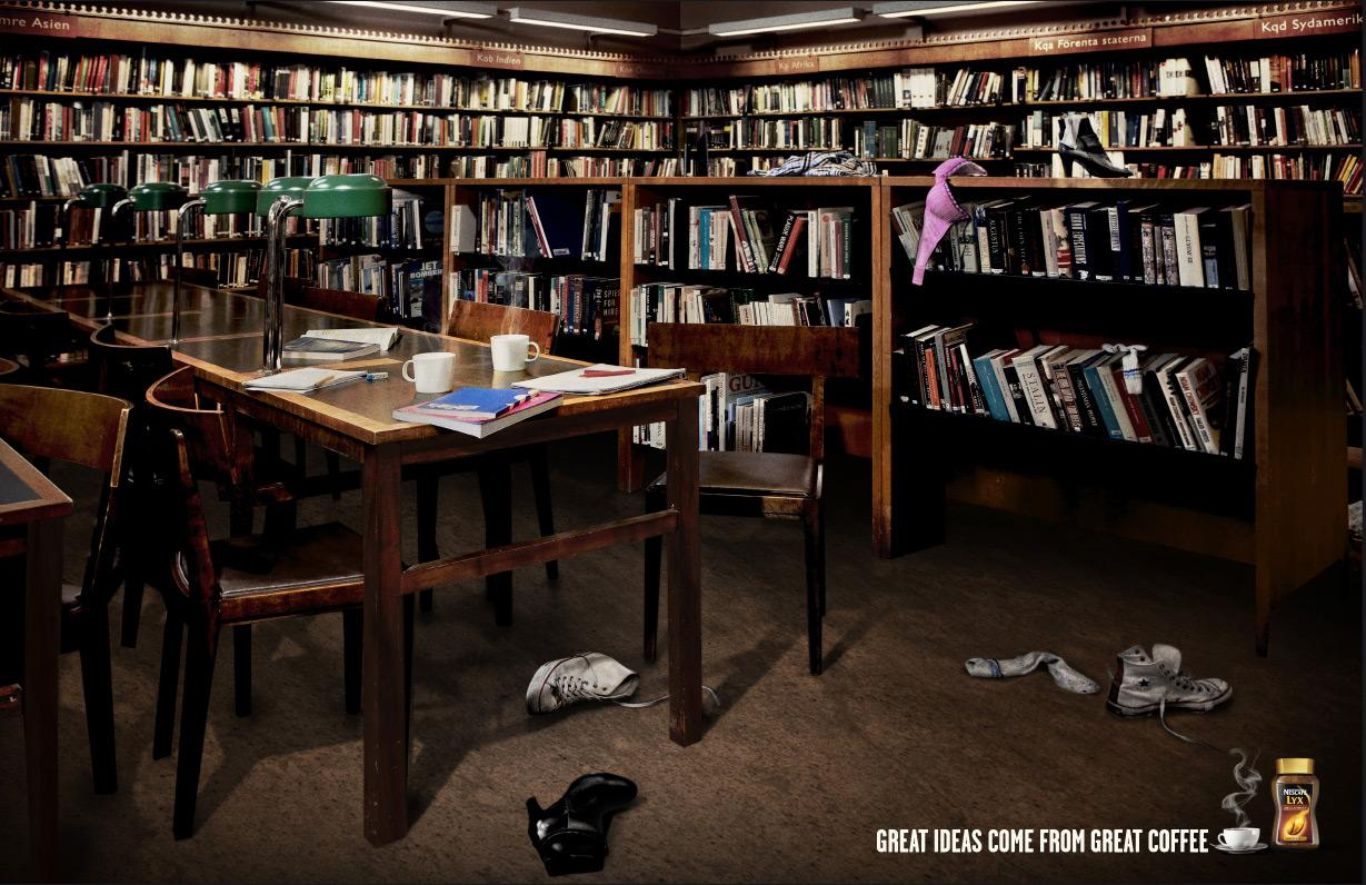 Nescafe Print Ad -  The library