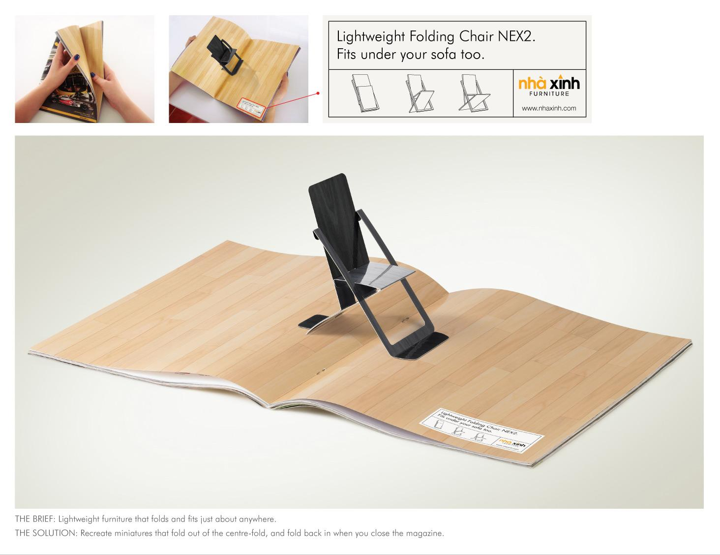 Nha xinh furniture print advert by grey folding chair for Sofa bed nha xinh