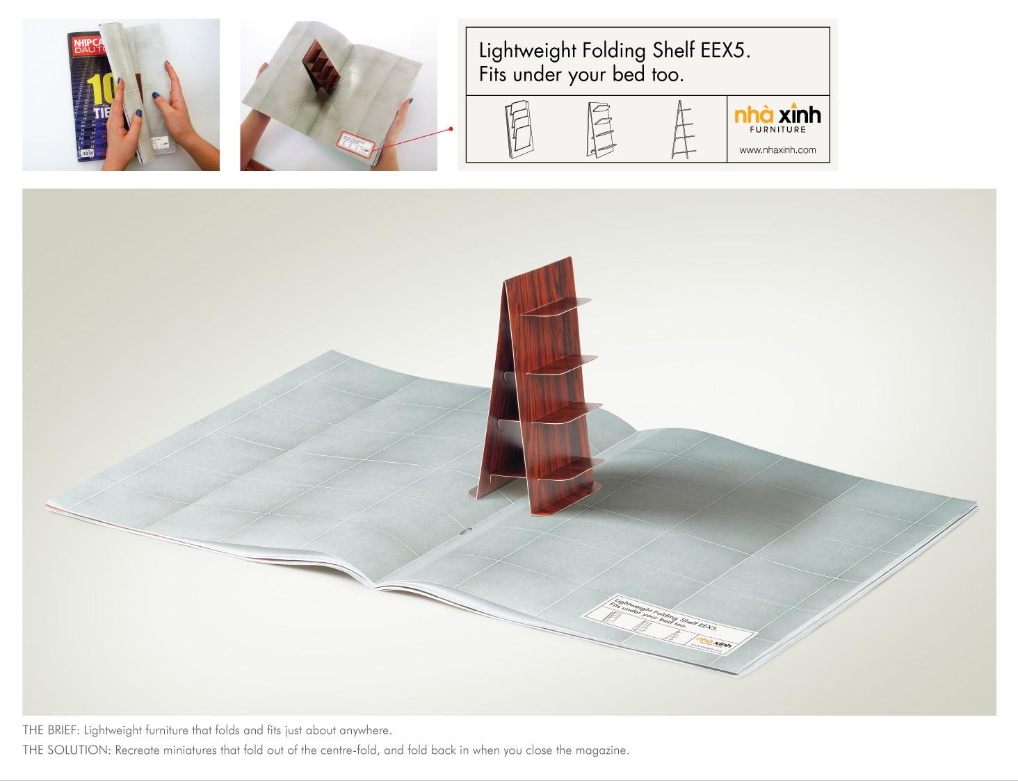 Nha Xinh Furniture Print Ad -  Folding Shelf