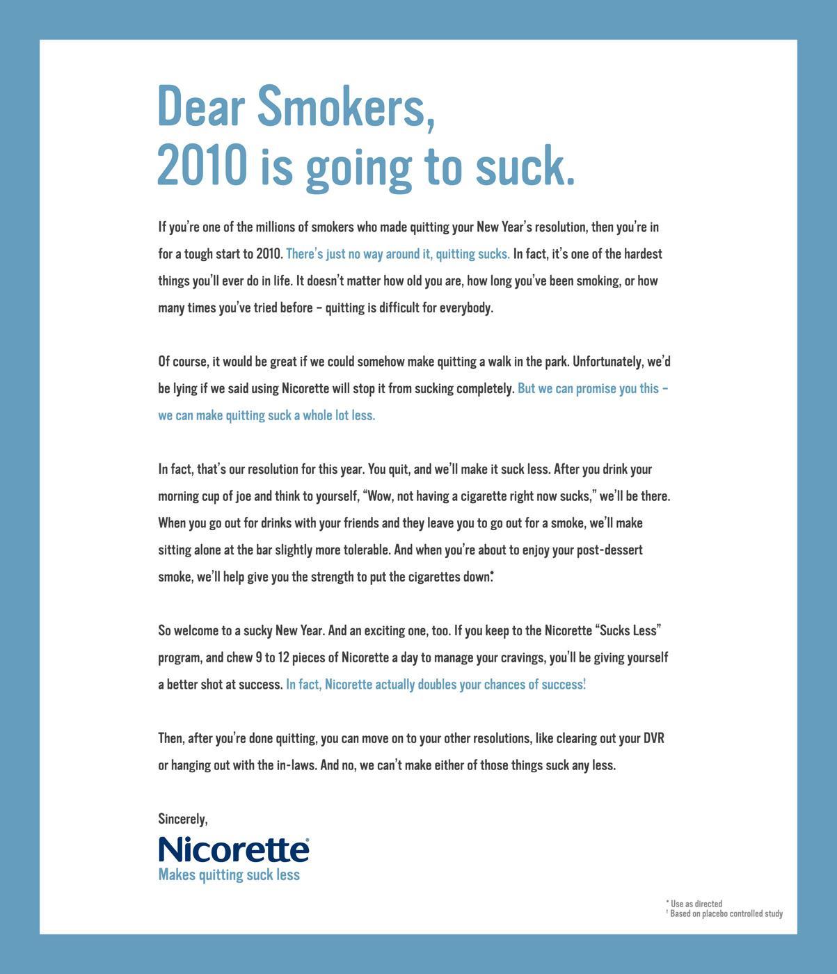 Nicorette Print Ad -  Open letter