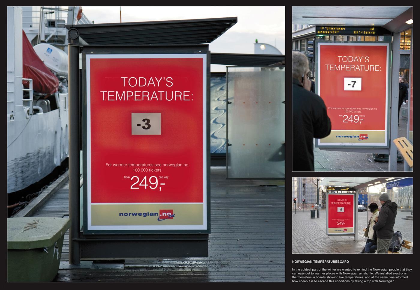 Norwegian Air Shuttle Outdoor Ad -  Temperature board