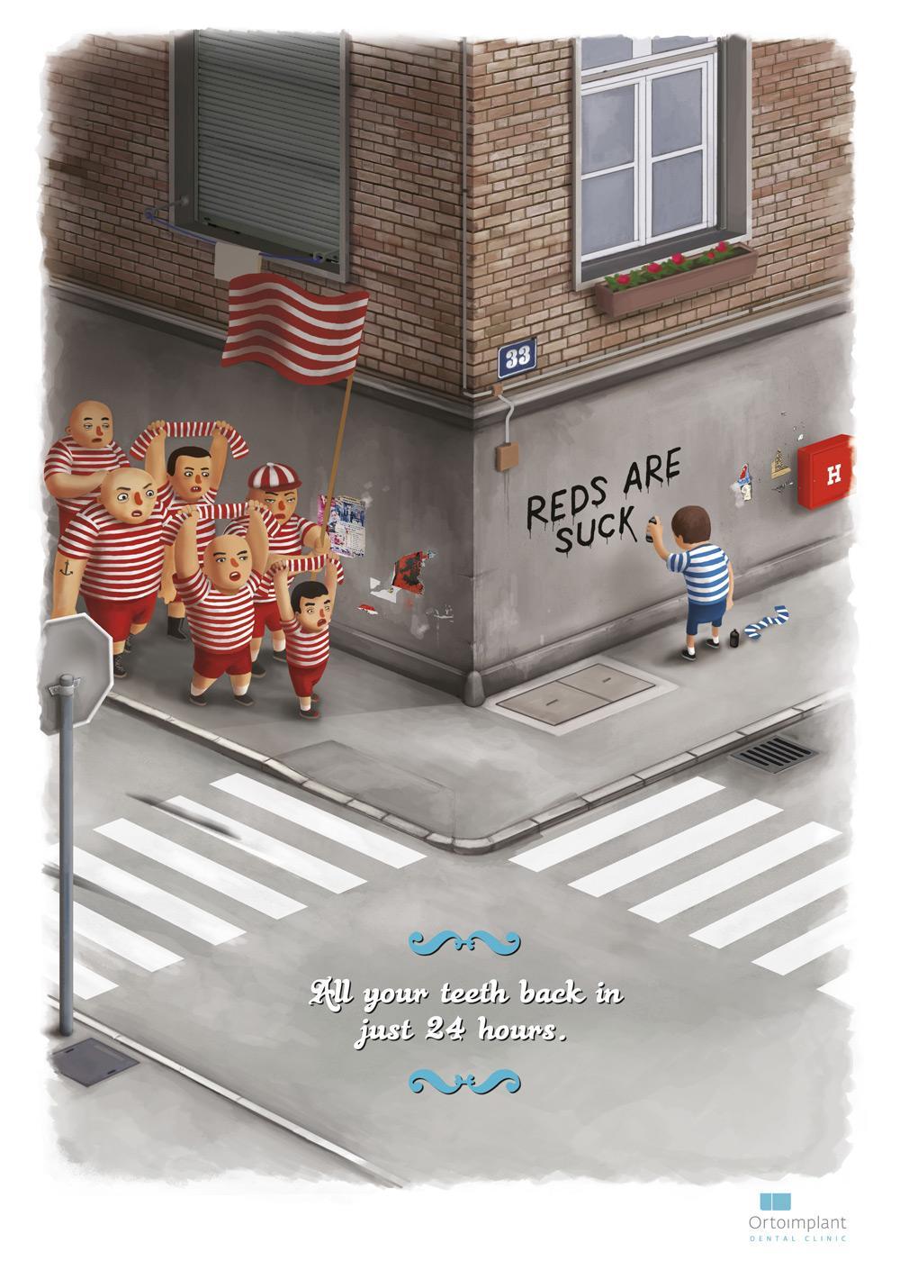 Ortoimplant Dental Clinic Print Ad -  Fans