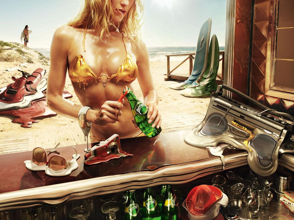 Perrier Print Ad -  Melt, Beach
