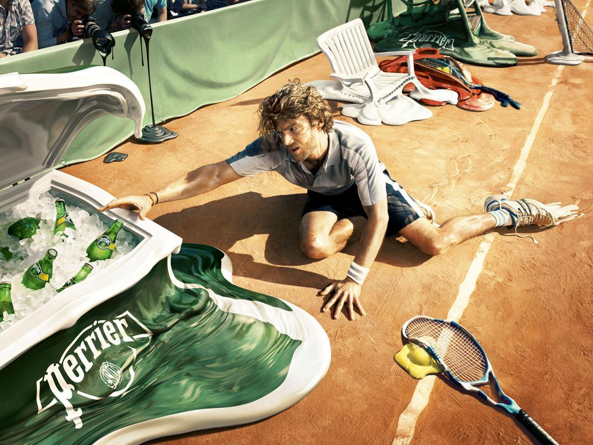 Perrier Print Ad -  Melt, Tennis