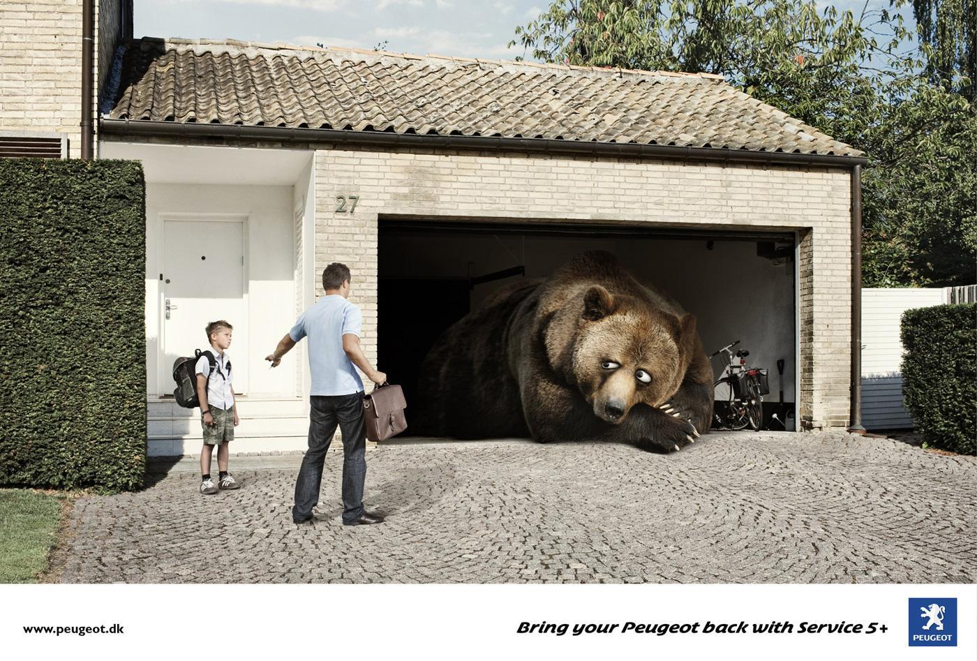 Peugeot Print Ad -  Hibernating Bear