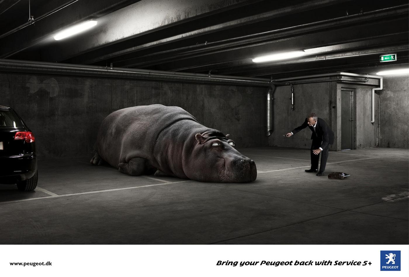 Peugeot Print Ad -  Lazy Hippo