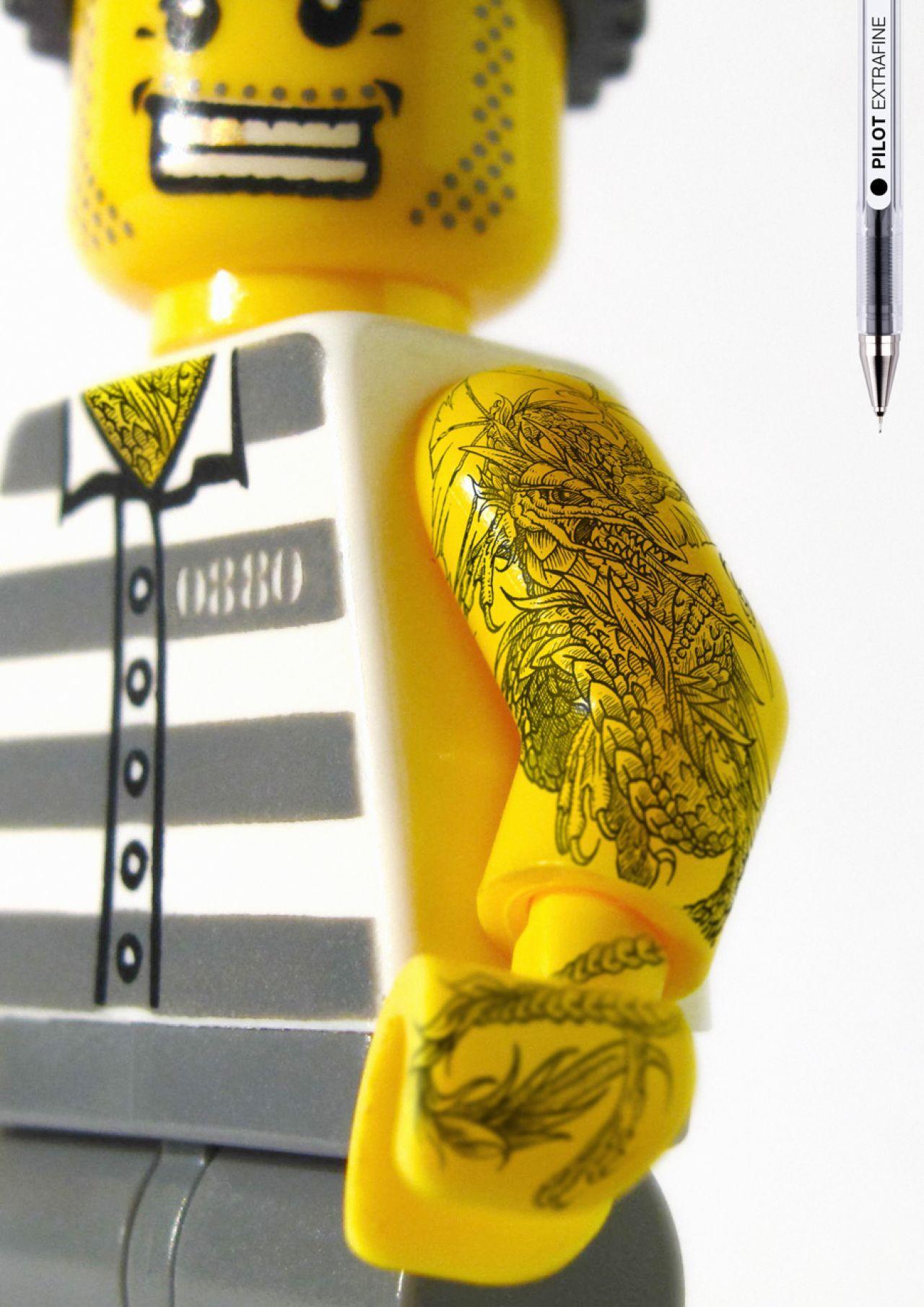 Pilot Print Ad -  Legoman tattoo, arms 2